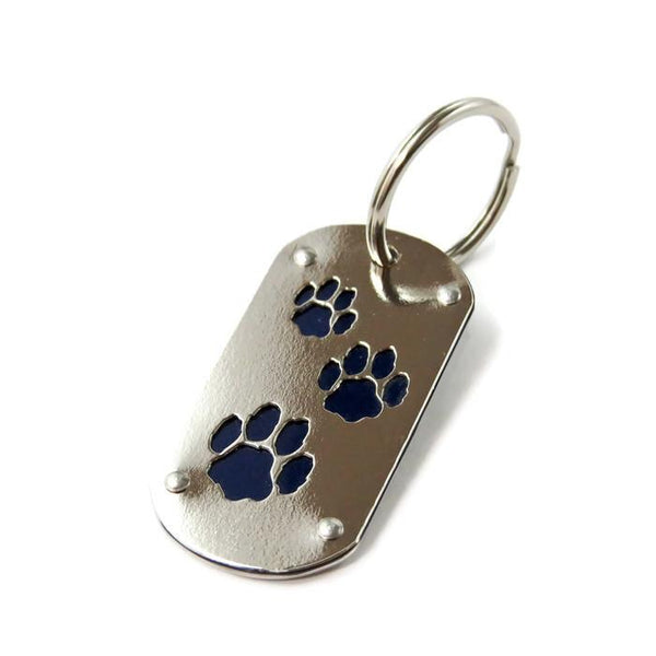 Blue Tesla Paw Print Key Chain & Pet ID - CRASH Jewelry