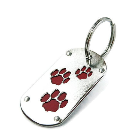 Black Tesla Paw Print Key Chain & Pet ID