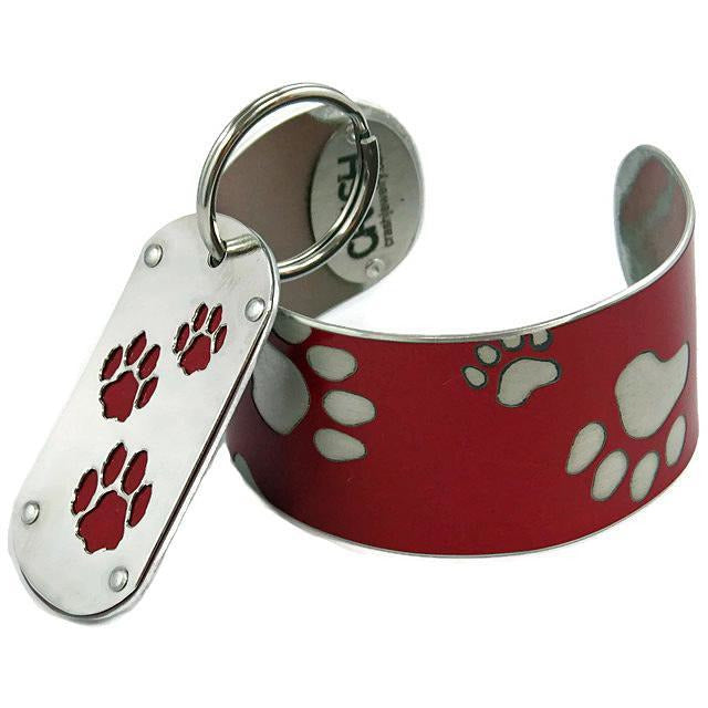 Red Tesla Paw Print Key Chain & Pet ID - CRASH Jewelry