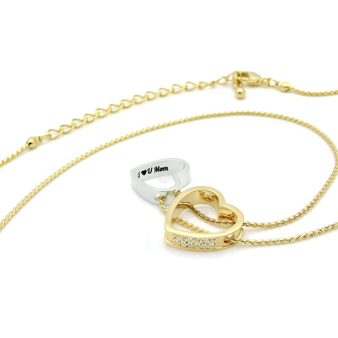 "Mother Gold Heart Necklace Engraved with ""I love U Mom"", 18"" Chains included"