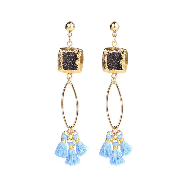 MAGNOLIA BLACK DRUZY STONE TASSEL EARRINGS - jeweleen