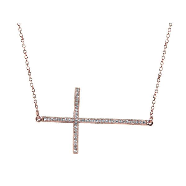"Rose Gold Plated Silver Large Sideways CZ Studded Cross Necklace, 16"" - jeweleen"