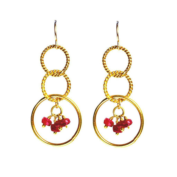 'Twisted Links' Dangle Earrings: Gold/Ruby - jeweleen