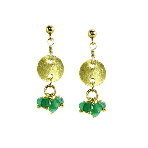 'Disk Drops' Earrings: Green Onyx - jeweleen