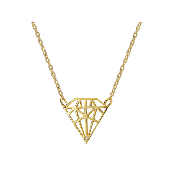 18k Gold Plated Necklace W/Diamond Shape Pendant W/Cz - jeweleen