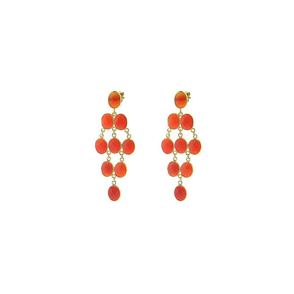 Fronay Collection Carnelian Stone Chandelier Earrings 18k Gold Pl Silver, 2.5 - jeweleen