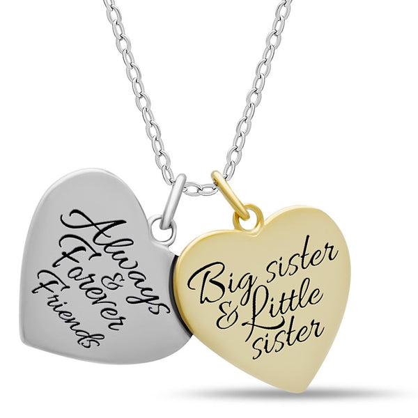 Sister Double Heart Necklace, 925 Silver, 14K Gold and Silver Plated Two Heart Necklace - jeweleen - 1