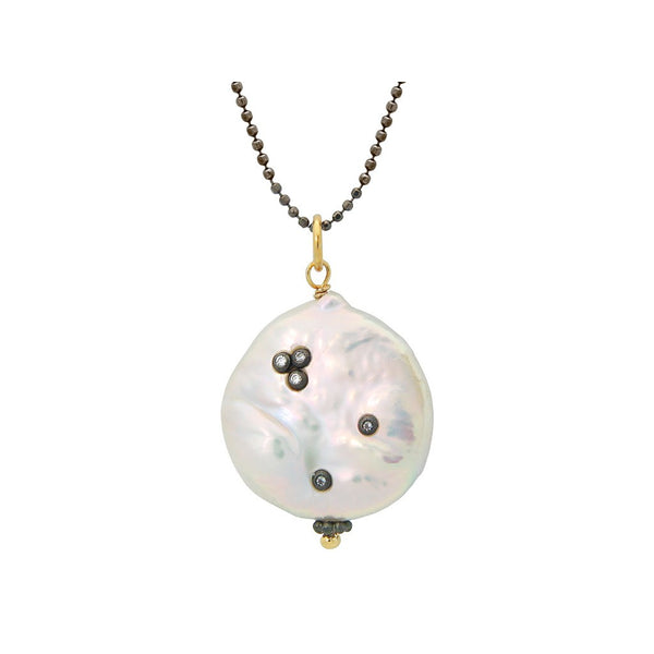 "Fronay Co., Coin Pearl CZ Inlay Necklace, 24"" - jeweleen"