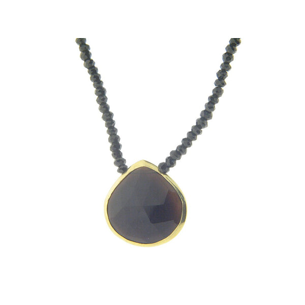 "Fronay Co, Black Spinel & Black Stone Pendant Sterling Silver Necklace, 16"" - jeweleen"