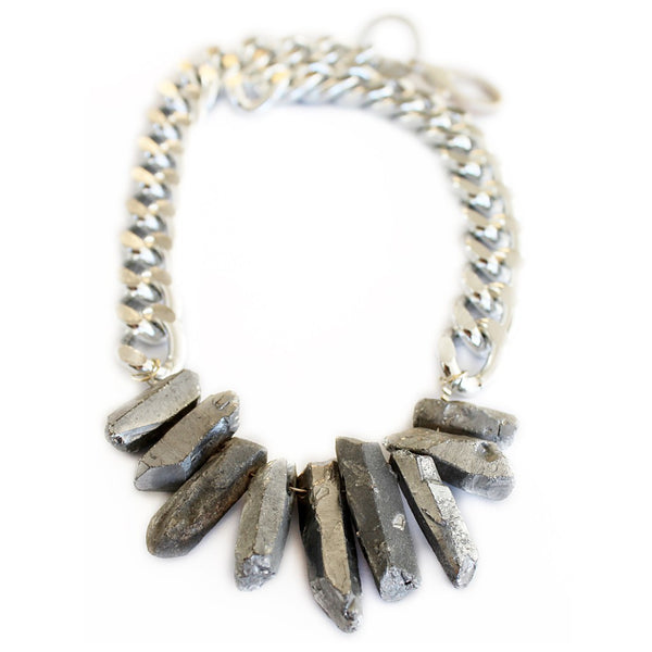 Rocked Up Necklace (Silver) - jeweleen - 1