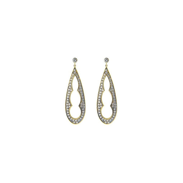 Silver Gold & Black Rhodium Plated  1.5 Inch Long Pear Shape Earrings Cz Edges - jeweleen
