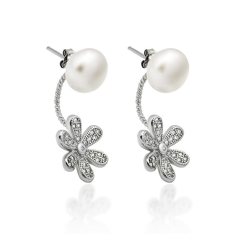 925 Sterling Silver Earrings, Swing Ear Jacket Pearl Earrings, Flower Ball Earrings - jeweleen - 1