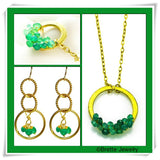 'Halo' Necklace: Gold/Green Onyx - jeweleen - 2
