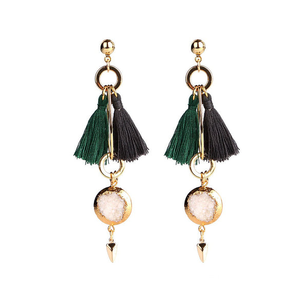 MAGNOLIA GREEN & BLACK TASSEL EARRINGS - jeweleen