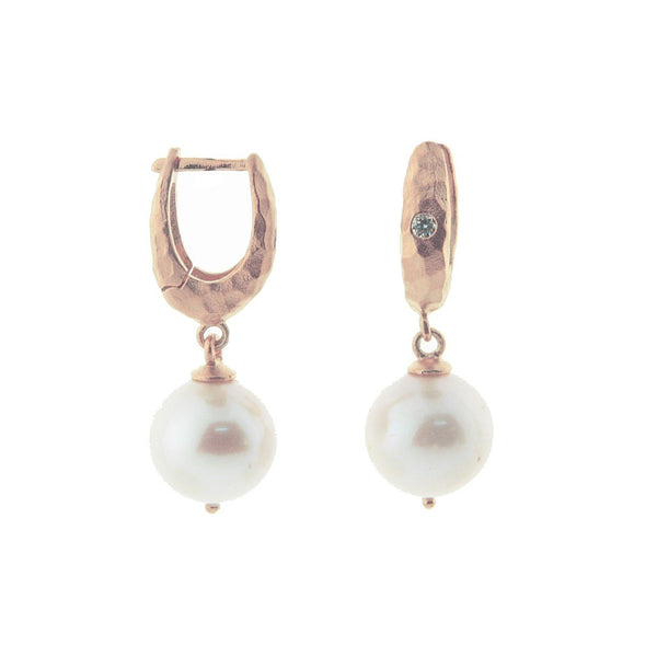 Fronay Co., Hammered Rose Gold Pearl Drop Huggies - jeweleen