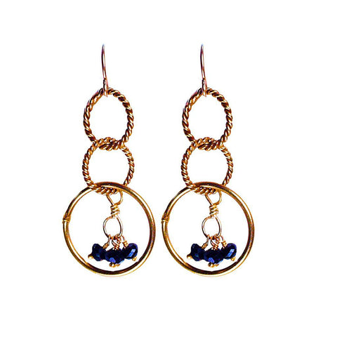 'Twisted Links' Dangle Earrings in Gold/Spinel - jeweleen