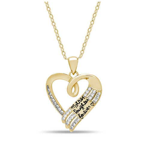 Elegant Mother Daughter Necklace, 925 Sterling Silver, 14K Gold Plated Heart Necklace - jeweleen - 1