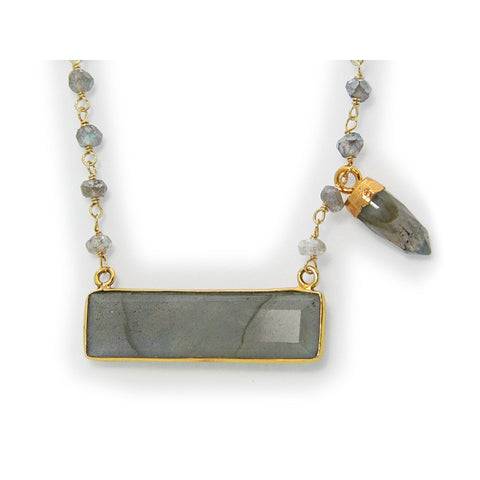 "18k Gold Plated Silver Labradorite Rectangle & Bullet Necklace, 16"" - jeweleen"