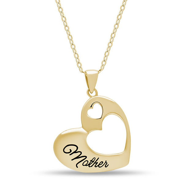 Elegant Mother Necklace, 925 Sterling Silver, Gold Plated Heart Pendant for Mother - jeweleen - 1