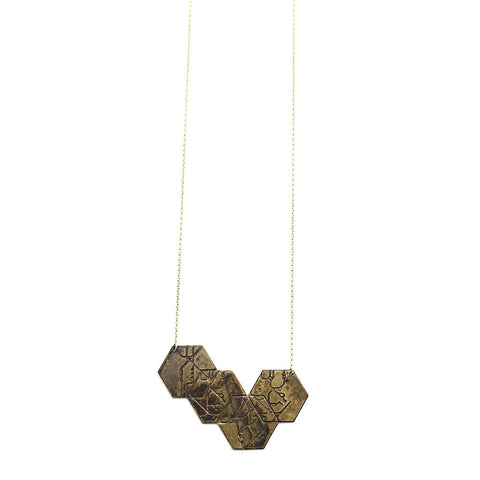 4 hexagon necklace - blackened brass - jeweleen