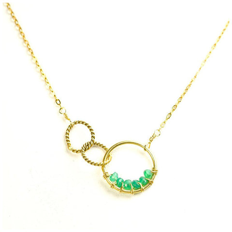 'Twisted Links' Necklace: Gold/Green Onyx - jeweleen