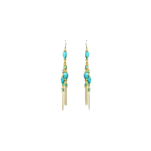 Turquoise Linear Chandelier Earrings - jeweleen - 1