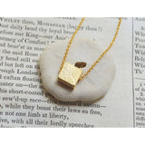 White gold hammered square necklace - jeweleen - 5