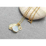 Gold personalized dangle mint drop necklace - jeweleen - 2