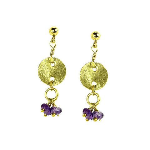 'Disk Drops' Earrings: Amethyst - jeweleen