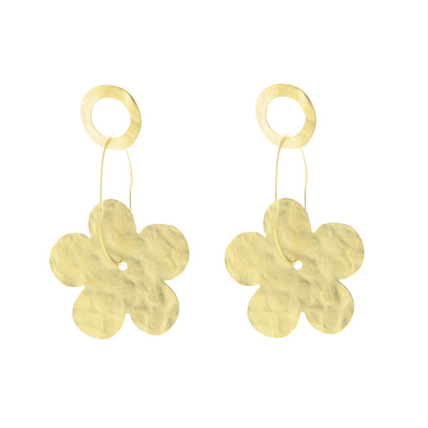 Fronay Co., Hammered Gold Flowers & Rings Earrings - jeweleen