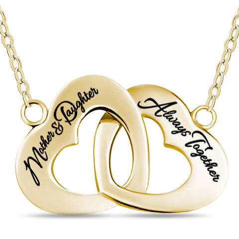 Mother Daughter Necklace, 925 Sterling Silver, 14K Gold Plated Interlocking Heart Necklace - jeweleen - 1