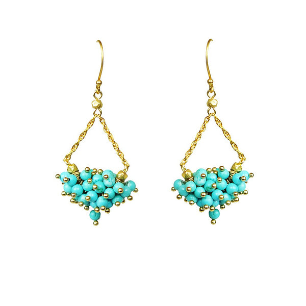 Turquoise Cluster Chandelier Earrings - jeweleen - 1