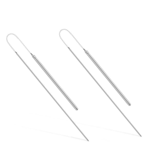Threader Earrings, 925 Sterling Silver, Silver Plated Long Drop Bar Earrings - jeweleen - 1