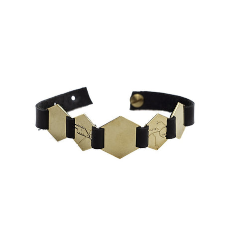 5 hexagons lether brecelet - gold - jeweleen