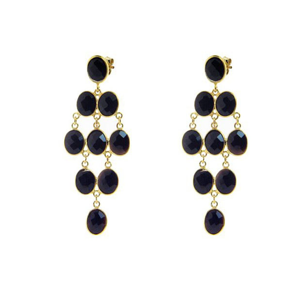 Fronay Collection Oval Onyx Chandelier Earrings 18k Gold Pl Silver, 2.5 - jeweleen