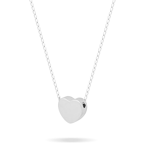 Tiny 925 Silver Necklace, Floating Silver Plated Heart Necklace, Simple Heart Charm - jeweleen - 1