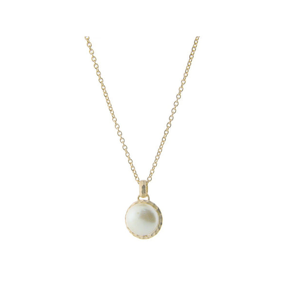 "Fronay Co., Hammered Rhodium Tone Freshwater Coin Pearl Pendant Necklace, 16"" + 2"" extension - jeweleen"