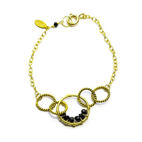 'Twisted Links' Bracelet: Gold/Spinel - jeweleen