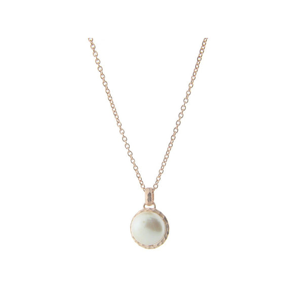 "Fronay Co., Hammered Rose Gold Tone Freshwater Coin Pearl Pendant Necklace, 16"" + 2"" extension - jeweleen"