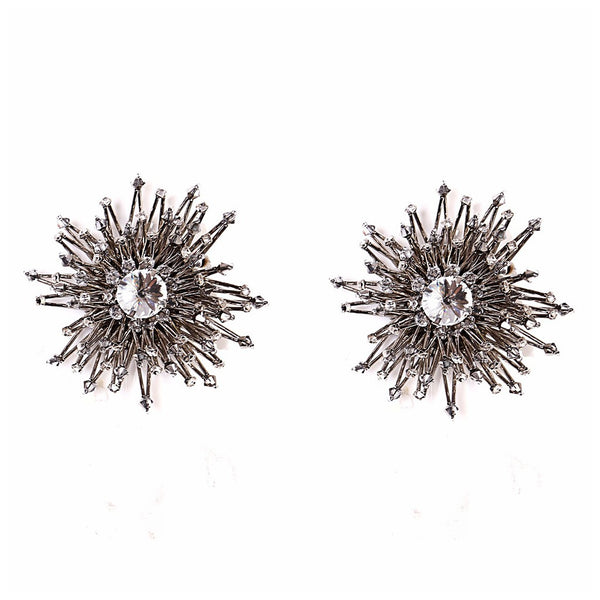 SUPERNOVA RHODIUM EARRINGS. - jeweleen - 1
