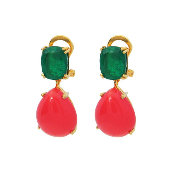 "Fronay Collection Coral & Emerald Doublet Earrings, 1"" - jeweleen"