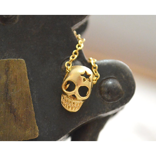 Gold skull necklace - jeweleen - 1