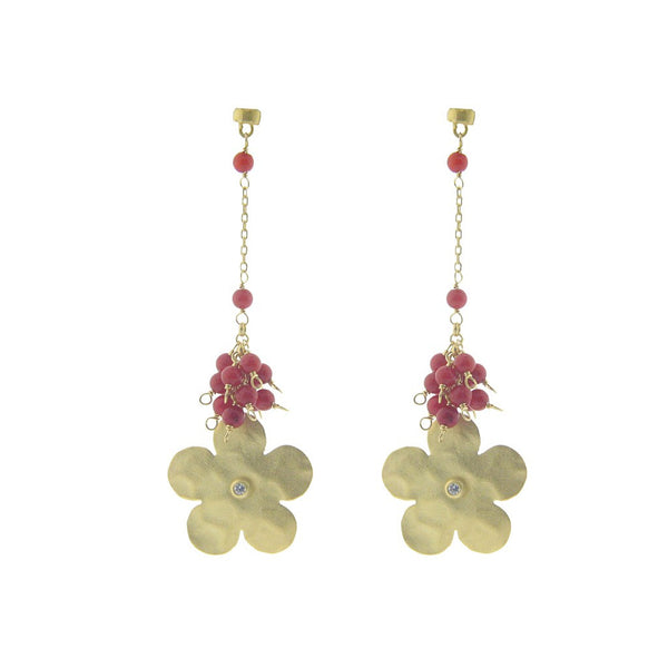 Fronay Co., Limited Batch Hammered Gold Flower & Red Coral Earrings - jeweleen