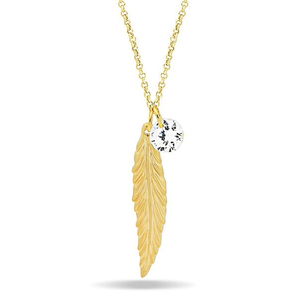 Feather Necklace, 14K Gold Plated Feather and Birthstone Necklace, Elegant Necklace - jeweleen - 1