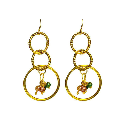 'Twisted Links' Dangle Earrings: Gold/Tourmaline - jeweleen