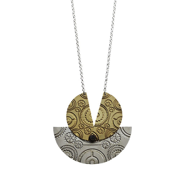 Kinetic Wheel Necklace- Silver and Gold - jeweleen - 1