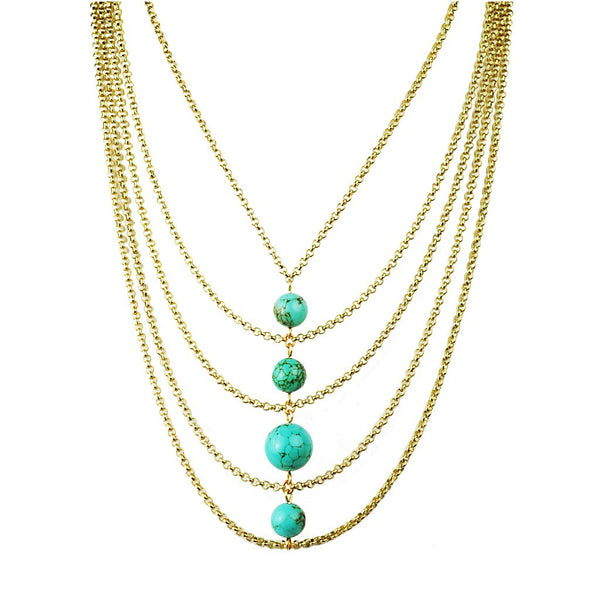 Turquoise Center Bib Necklace - jeweleen - 1