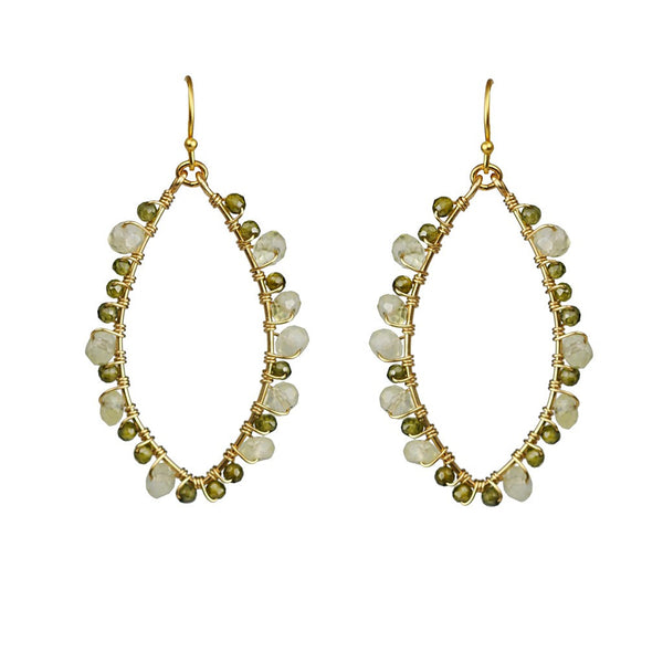 Green Tourmaline And New Jade Wrapped Frame Earrings - jeweleen - 1
