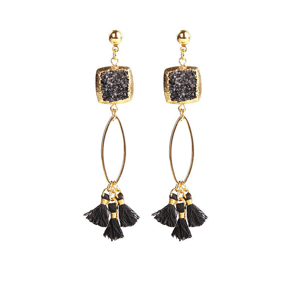 MAGNOLIA BLACK DRUZY TASSEL EARRINGS - jeweleen - 1