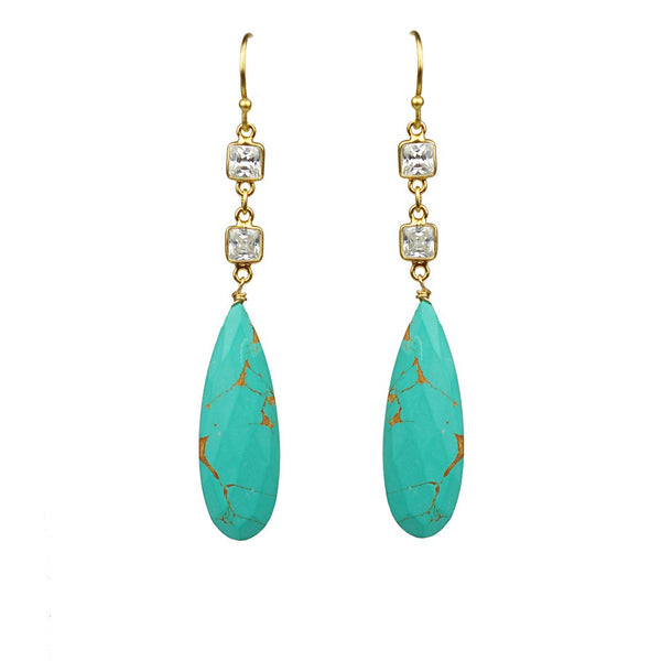 White Topaz With Turquoise Drop Earrings - jeweleen - 1